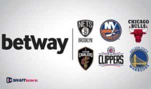 logo da Betway ao lado dos times da NBA e NFL em forma de parceria