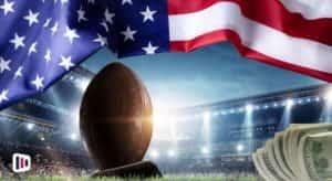 Bola de futebol americano, bandeira EUA, estádio, dinheiro - Flórida apostas esportivas online